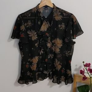 American Living Pleated Floral Blouse